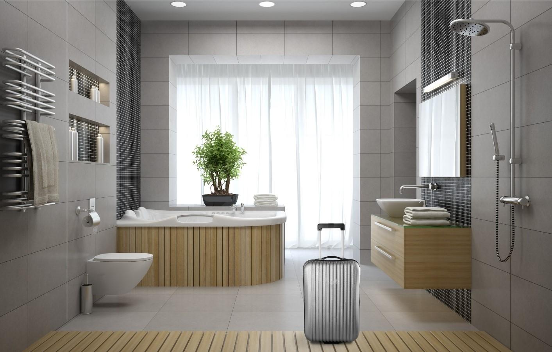 Valise dans la salle de bain